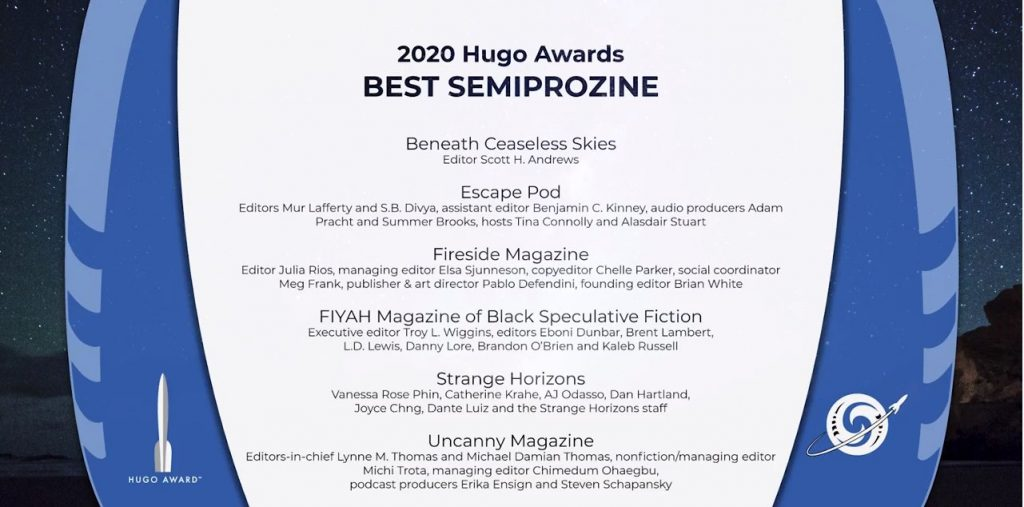 List of Best Semiprozine finalists in 2020 Hugo Awards